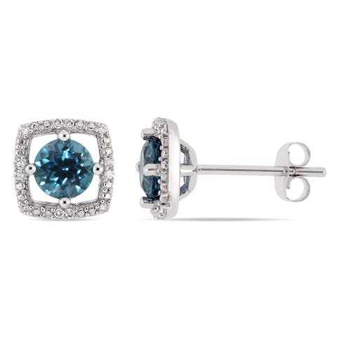 Miadora 10k White Gold London-Blue Topaz and Diamond Accent Floating Square Halo Stud Earrings
