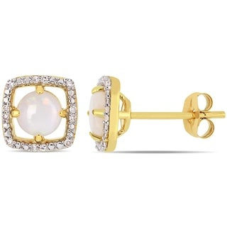 Miadora 10k Yellow Gold Opal and Diamond Floating Halo Stud Earrings