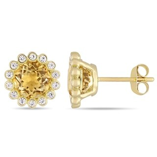 Miadora 10k Yellow Gold Citrine and White Sapphire Beaded Halo Stud Earrings