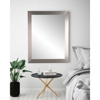 "BrandtWorks Industrial Modern Home Accent Brushed Nickel Framed Decorative Wall Mirror - 32"" x 55"""