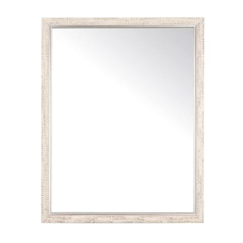 "BrandtWorks Modern Farmhouse Silver and Cream Aspen Decorative Wall Mirror - 30"" x 53"""