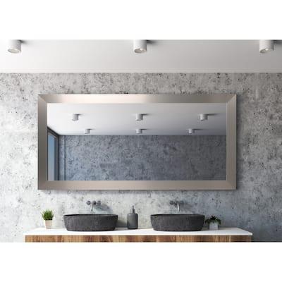 Industrial Modern Home Accent Floor Mirror - Satin Nickel