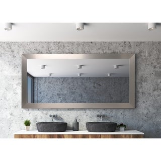 Industrial Modern Home Accent Floor Mirror - Satin Nickel