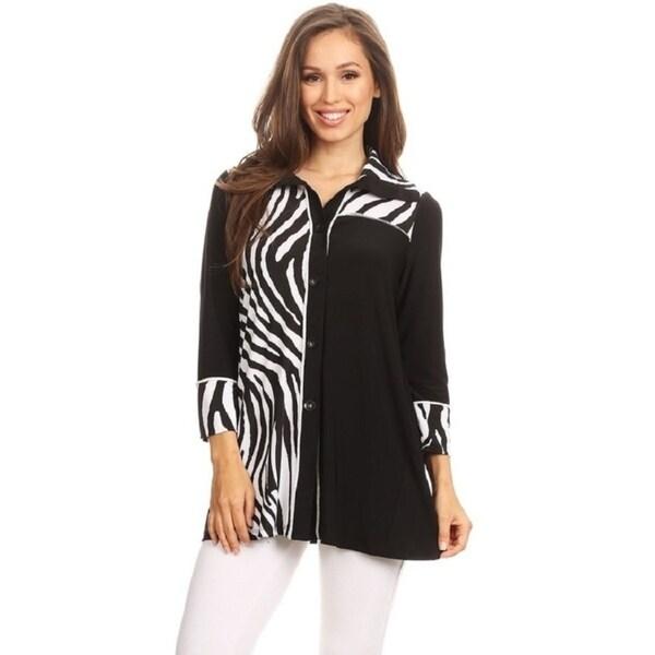 High Secret Women's Zebra Print Button Down Jacket Cardigan