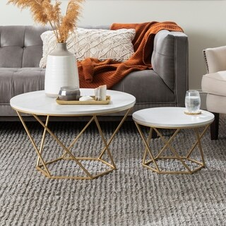 Round Nesting Coffee Tables - White Faux Marble / Gold - 28 x 28 x 16h/18 x 18 x 12h