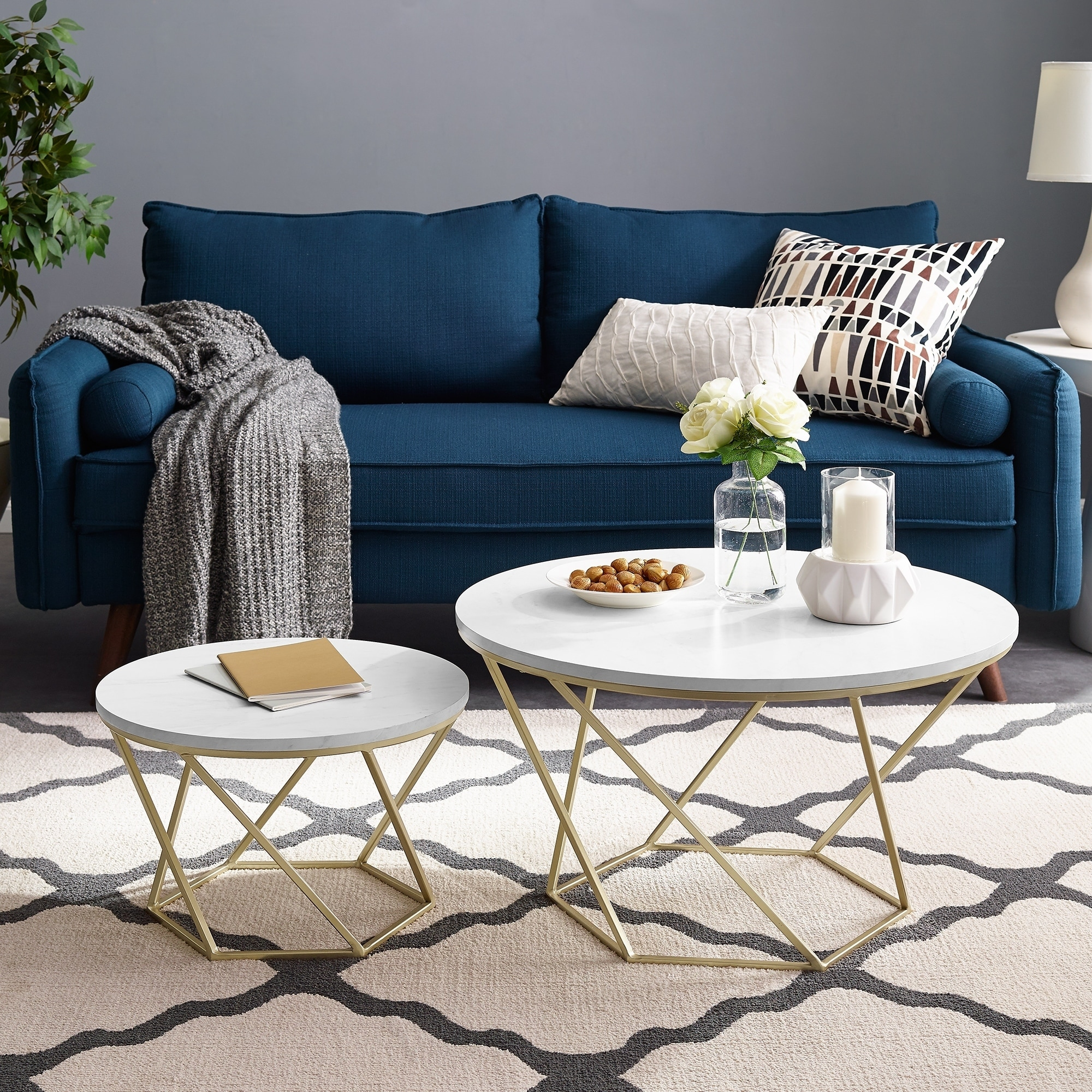 Round Nesting Coffee Tables - White Faux Marble / Gold - 28 x 28 x 16h