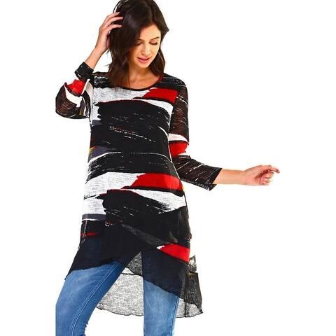 High Secret Women's Asymmetrical Print Scooped Neck Tunic Top
