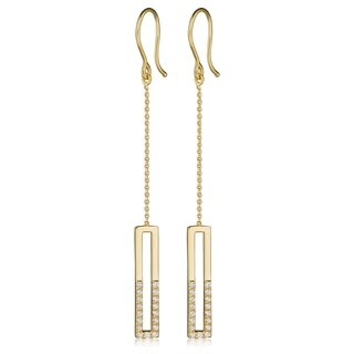 Fremada Italian 14k Yellow Gold Genuine Swarovski Cubic Zirconia Rectangle Bar Dangle Earrings