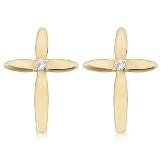 Fremada Italian 14k Yellow Gold with Genuine Swarovski Cubic Zirconia Accent Cross Stud Earrings