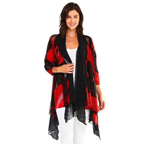 High Secret Women's Multicolored Print Lace Loose Fit Cardigan