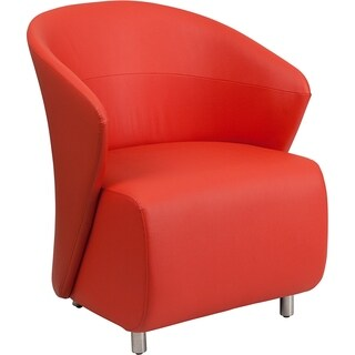 BurnettModern Red Leather Side/Guest Chair