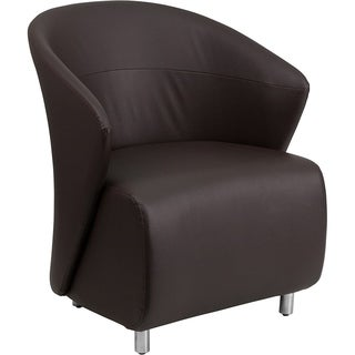 BurnettModern Brown Leather Side/Guest Chair