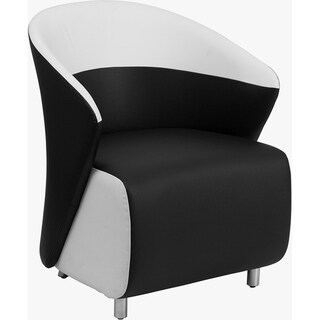 BurnettModern Black Leather and White Rimmed Side/Guest Chair