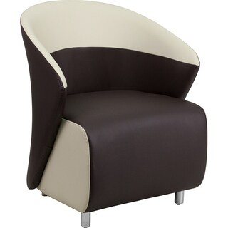 BurnettModern Black Leather and Beige Rimmed Side/Guest Chair