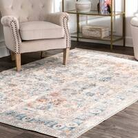 "nuLOOM Ivory Transitional Historical Persian Blossom Faded Ornamental Border Area Rug - 9' 10"" x 13' 8"""