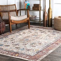 nuLOOM Ivory Transitional Historical Persian Garden Faded Ornamental Border Area Rug