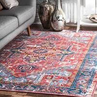 nuLOOM Red Traditional Vintage Fancy Floral Area Rug - 8' x 10'