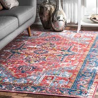 "nuLOOM Red Traditional Vintage Fancy Floral Area Rug - 9' 10"" x 13' 8"""