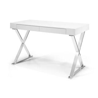 Elm High Gloss White Lacquer Wood and Stainless Steel Large Desk