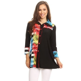 High Secret Women's Multicolored Palm Print Button Down Jacket Cardigan