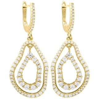 Luxiro Sterling Silver Gold Finish Cubic Zirconia Women's Double Open Oval Earrings - White