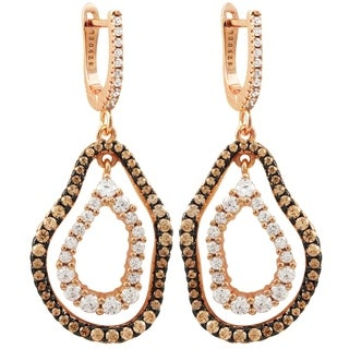 Luxiro Sterling Silver Two-tone Finish Champagne Cubic Zirconia Women's Double Open Oval Earrings - White