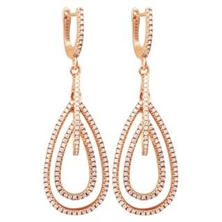 Luxiro Sterling Silver Rose Gold Finish Cubic Zirconia Dangling Open Teardrop Earrings - White