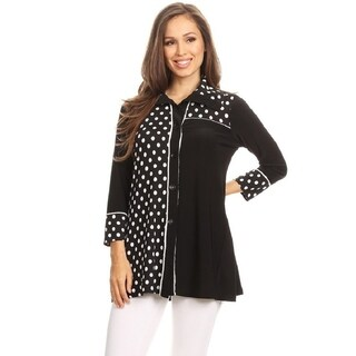 High Secret Women's Polka Dot Print Button Down Jacket Cardigan