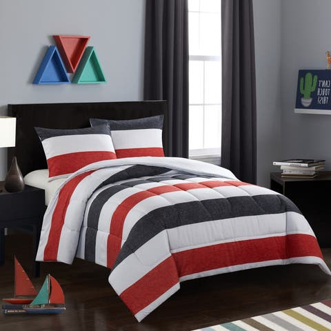 Jayden Black and Red Comforter Set