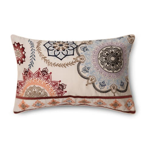 "Pointehaven Casablanca Embroidered 12""x20"" Accent Pillow"