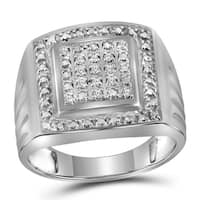 Sterling Silver Mens Round Diamond Square Frame Cluster Ring 1/10 Cttw