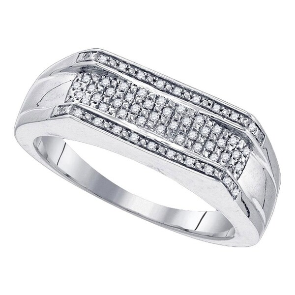 4a17c94d8 Shop Sterling Silver Mens Round Diamond Flat Band Ring 1/6 Cttw - Size 10 -  Free Shipping Today - Overstock - 22538018