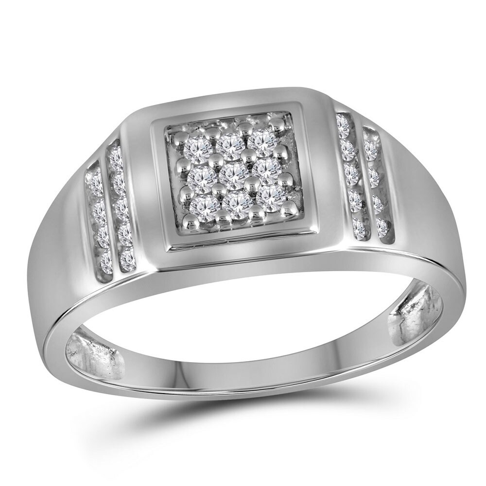 Sterling Silver Mens Round Diamond Square Cluster Ring 1//8 Cttw