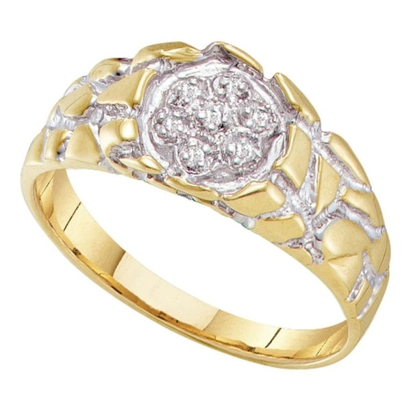 Yellow-tone Sterling Silver Mens Round Diamond Cluster Nugget Ring 1//8 Cttw