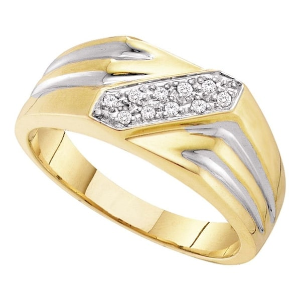 10kt Yellow Gold Mens Round Black Colored Diamond Band Ring 1//10 Cttw