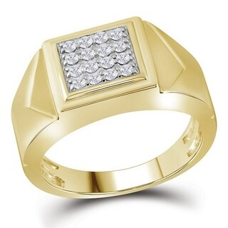 10kt Yellow Gold Mens Round Diamond Square Cluster Faceted Fashion Ring 1/3 Cttw