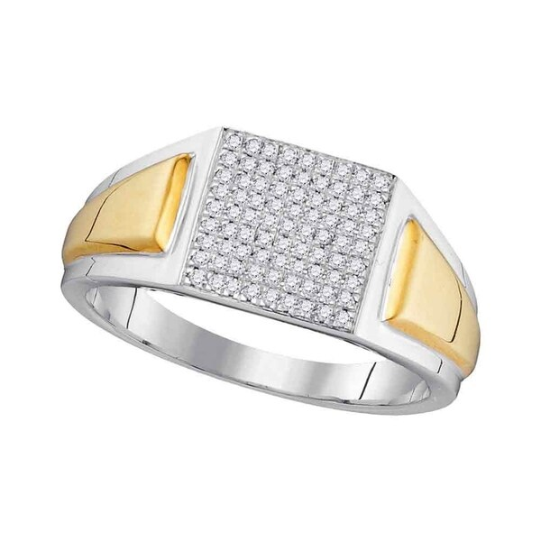 18437683cf615a Shop 10kt Two-tone White Gold Mens Round Diamond Square Cluster Ring 1/4  Cttw - Size 10 - Free Shipping Today - Overstock - 22538204
