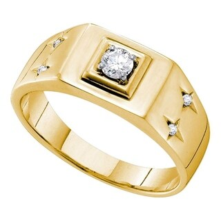 14kt Yellow Gold Mens Round Diamond Solitaire Accent Ring 1/4 Cttw