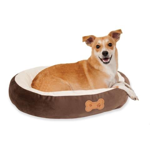 Aspen Pet Oval Dog Bed with Bone Applique