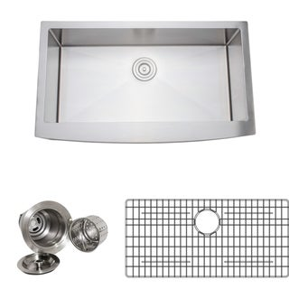 Wells Sinkware Handcrafted 36-inch 16-gauge Undermount Arched Apron Front Single Bowl Stainless Steel Kitchen Sink Package