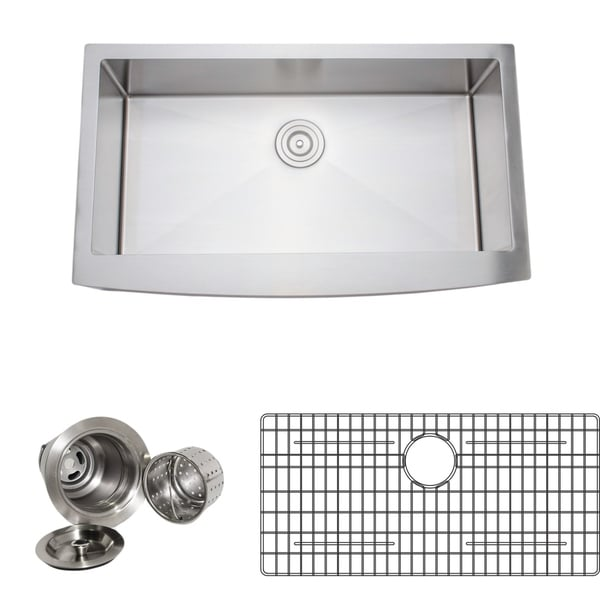 Wells Sinkware Handcrafted 36-inch 16-gauge Undermount Arched Apron Front Single Bowl Stainless Steel Kitchen Sink Package. Opens flyout.
