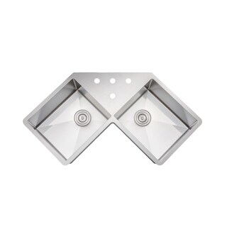 Wells Sinkware Handcrafted 46-inch 16-gauge Undermount Butterfly Equal Double Bowl Stainless Steel Corner Kitchen Sink