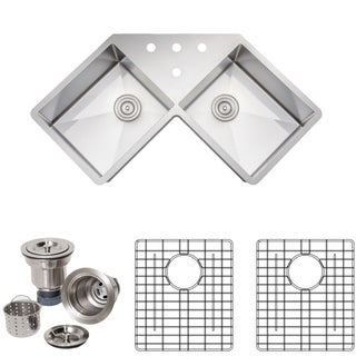 Wells Sinkware Handcrafted 46-inch 16-gauge Undermount Butterfly Equal Double Bowl Stainless Steel Corner Kitchen Sink Package