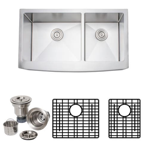 Wells Sinkware Handcrafted 36-inch 16-gauge Undermount 60-40 Arched Apron Front Double Bowl Stainless Steel Kitchen Sink Package