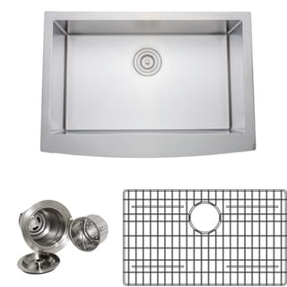 Wells Sinkware Handcrafted 30-inch 16-gauge Undermount Arched Apron Front Single Bowl Stainless Steel Kitchen Sink Package