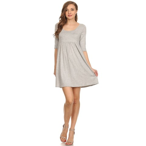 Women's Solid Knit Baby Doll Style Dress