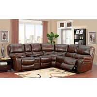 Porter Designs Ramsey Cognac Brown Top-grain Leather Reclining Sectional