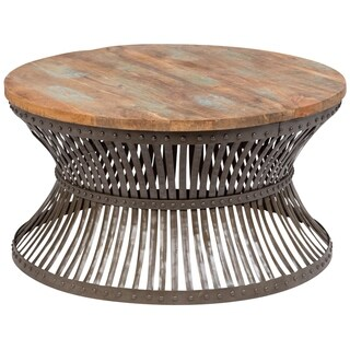 Wanderloot Nara Distressed Mango Wood and Industrial Metal Coffee Table