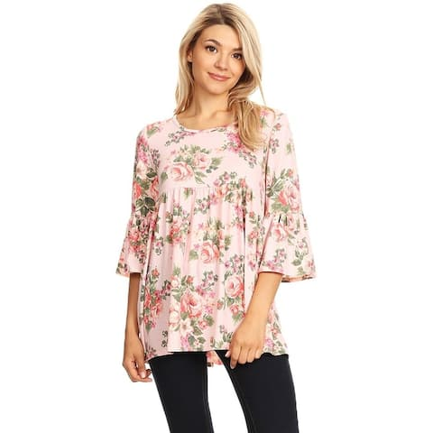 Women's Print Baby Doll Style Pleated Tunic Top