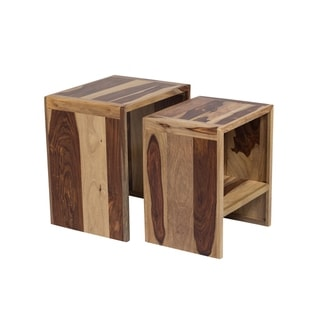 "Handmade Taos Sheesham Wood Nesting Table, Set of 2 - 22"" x 16"" x 19.5"" (India)"
